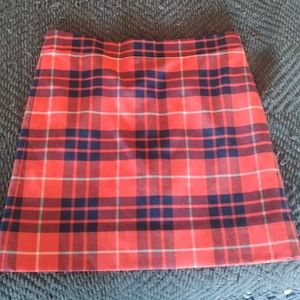 J. Crew Plaid Tartan Mini A line Skirt Zip Back